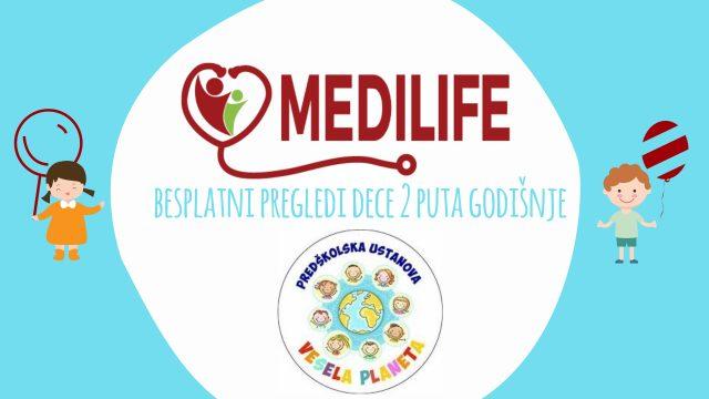 Besplatni pregledi dece u ordinaciji MEDILIFE - vrtić VESELA PLANETA